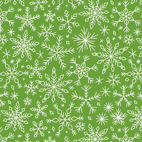Snowflakes winter Christmas pattern green, large