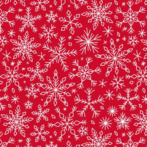 Snowflakes winter Christmas pattern red, large