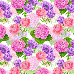 Flower mix-hydrangea, anemone and peony flowers, watercolor pattern