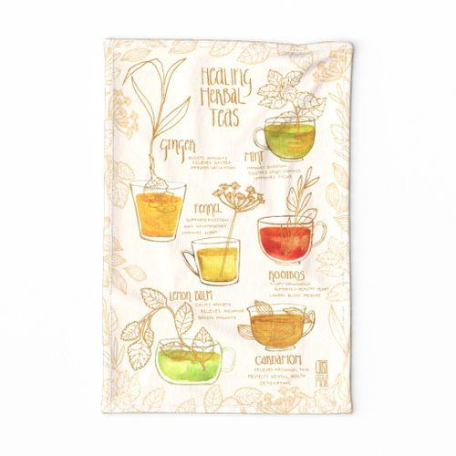 Healing Herbal Teas Tea Towel
