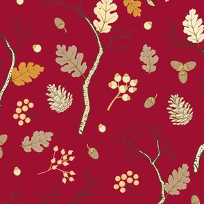 Winter Forest Pattern Red