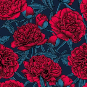 Red peony garden, blue leaves, dark blue background