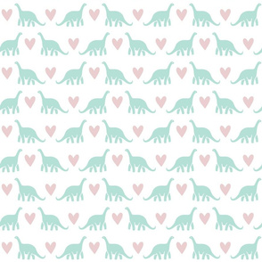 Dinosaur love, pink and mint