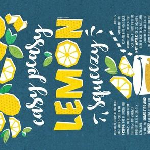 Easy peasy lemon squeezy tea towel // teal background