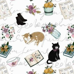Little Women With Cats on White