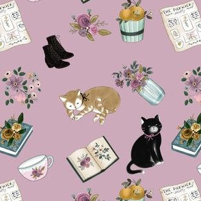 Little Women With Cats on Purple