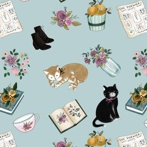 Little Women With Cats on Blue