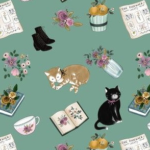 Little Women With Cats on Teal