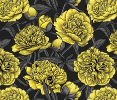 Night peony garden in yellow and gray, normal size