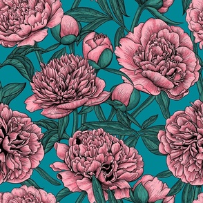 Pink peony garden on blue