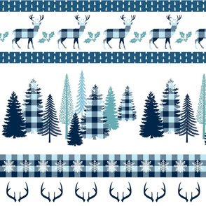 Blue plaid Christmas stripe blanket with trees and deers