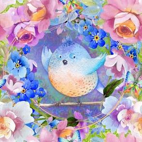 """8"""" BLUE ORANGE fat BIRD AMONG FLOWERS TILES FLWRHT"""