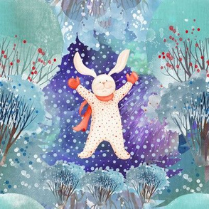 """8"""" SNOW DAY NIGHT TIME PAJAMAS RABBIT 3 CHRISTMAS FLWRHT"""