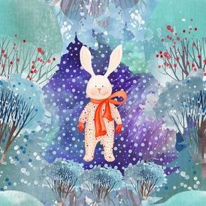 """8"""" SNOW DAY NIGHT TIME PAJAMAS RABBIT 2 CHRISTMAS FLWRHT"""