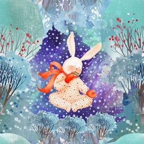 """8"""" SNOW DAY NIGHT TIME PAJAMAS RABBIT 1 CHRISTMAS FLWRHT"""