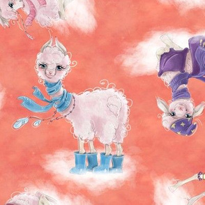 llamas on clouds scattered coral peach FLWRT