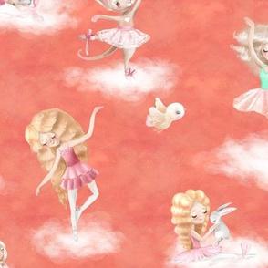 dancing on clouds ballerina coral peach FLWRHT