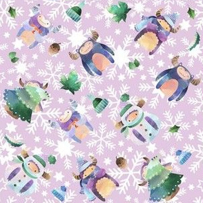 Winter Yeti Purple Snowflakes
