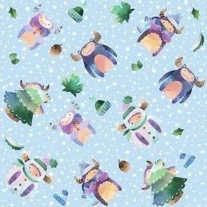 Winter Yeti Blue Falling Snow