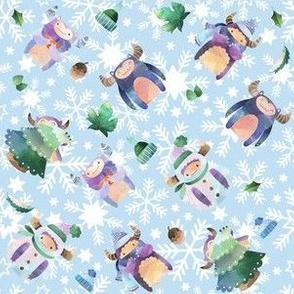 Winter Yeti Blue Snowflakes