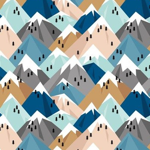 Abstract geometric winter snow topped mountains minimal climbing theme navy cinnamon blue gray M