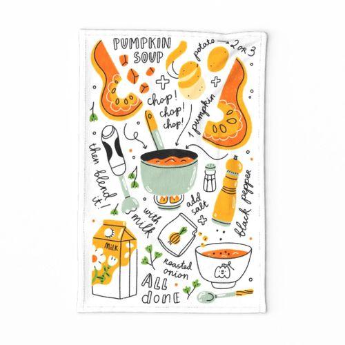 Pumpkin soup recipe illustration tea towel