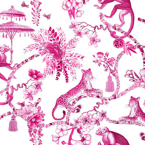 Chinoiserie Whimsy Pink and White