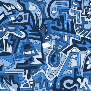 Mask scale blue abstract blocks