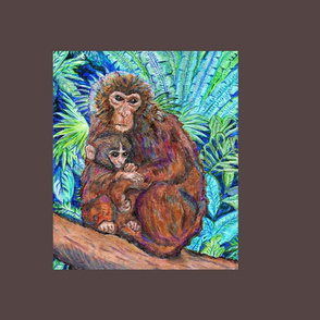 Monkey and Baby framed in brown