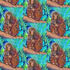 Monkey and Baby on Turquoise Jungle background