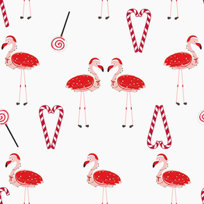 320-Gulsen-Red Flamingos with candy. Happy new year amd merry christmas seamless pattern