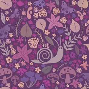 Woodland autumnal snail repeat pattern