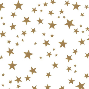 Shining golden light brown stars. Night and stars pattern with white background