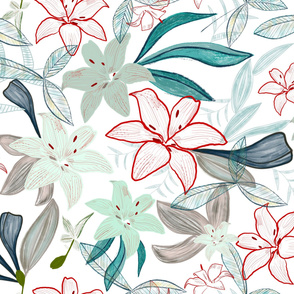 Jungle  exotic lily hand painted artistic pattern white background
