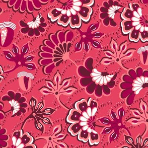 Floral folk, swirl, dark pink background