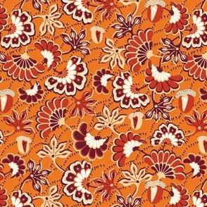 Floral folk, swirl, orange background