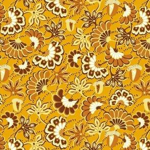 Floral folk, swirling, dark yellow background