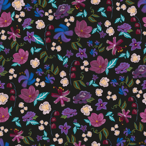 Brushed Florals Colorful gouache paint meadow flowers floral pattern
