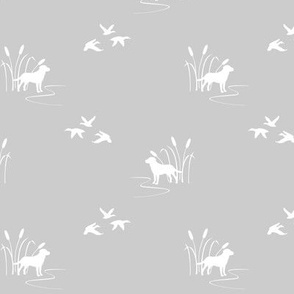 hunting scene white on gray small scale