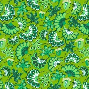 Floral folk, swirl, green background