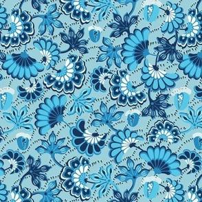 Floral folk, swirling, light blue background