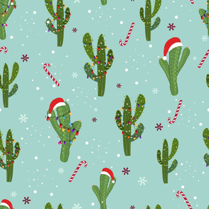 350-Gulsen-Cactus with colorful light bulb. Santa claus hat and candies. Merry Christmas and happy new year seamless pattern