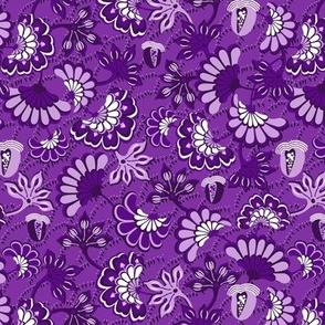 Floral folk, swirl, purple background