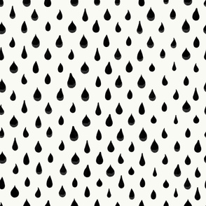 342-Active wear hand drawn black water drops simple pattern