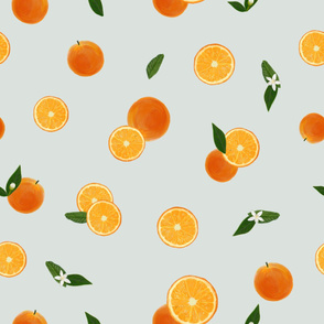 Orange,  leaves and  flowers and slice pattern