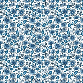 Blue wildflowers. White background