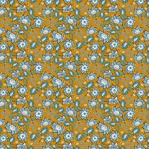 Blue wildflowers. Yellow background