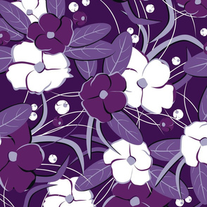 Large retro flowers. Purple, lilac, white, lilac