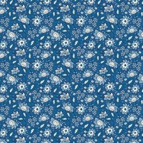 Blue wildflowers. Blue background