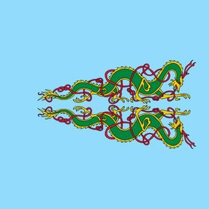 2 Celtic-Oriental Dragons triangle banner